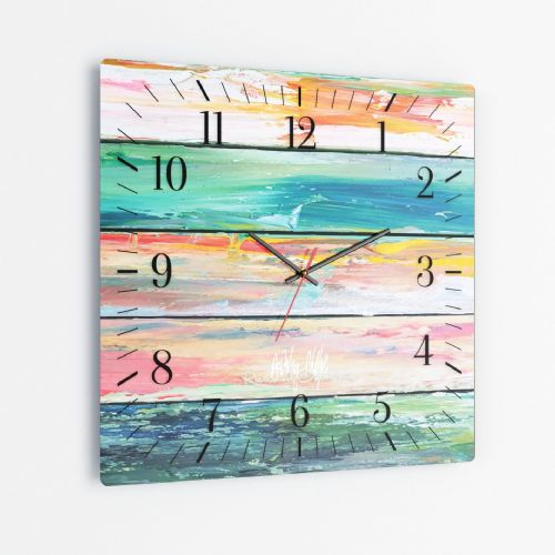 Weathered Paint - Square Glass Clock
